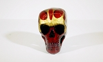 Human Skull - Red With Golden Flames